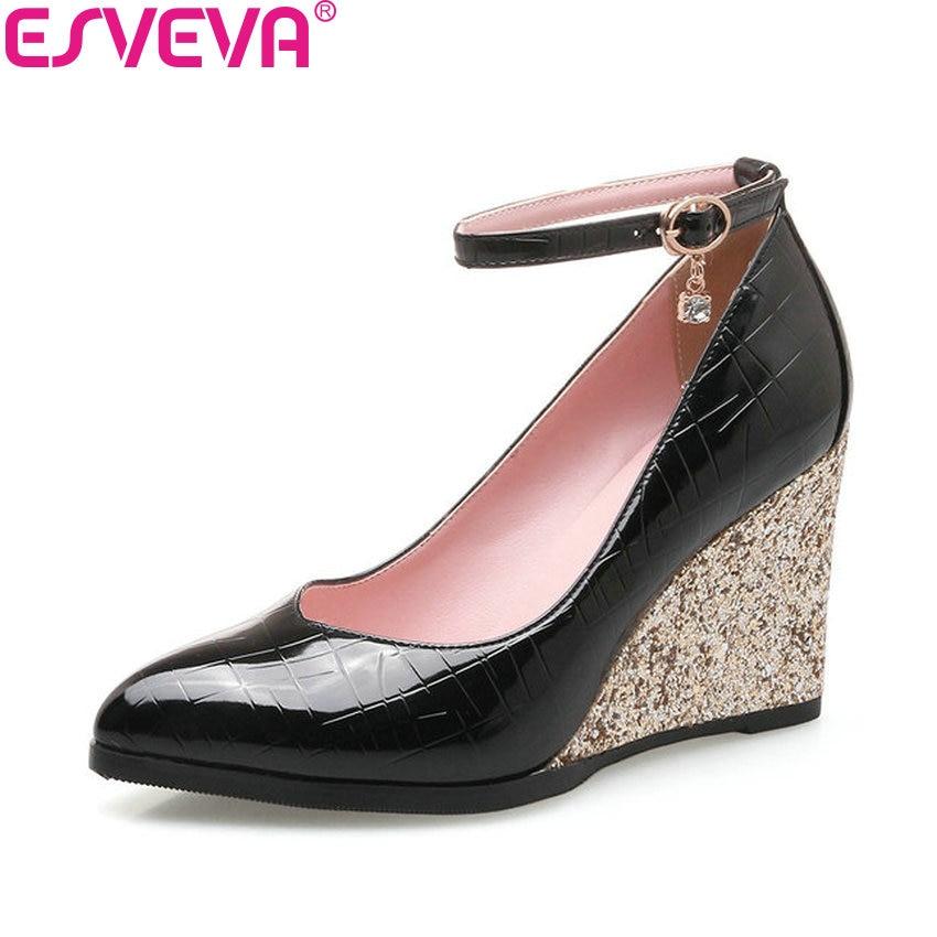 ESVEVA 2018 Women Pumps Heels Bling Bling Wedges High Heels PU Pointed Toe Elegant Wedges Pumps Buckle Women Shoes Size 34-43<br>
