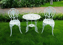 3-piece White Bistro Patio Set Table and 2 May Chairs Set Furniture Garden Outdoor Seat