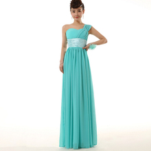 maid floor length long chiffon bridal modern turquoise green one shoulder bridesmaid dress patterns dresses 2016 H2696