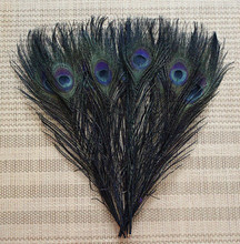 50pcs/lot 25-30cm / 10-12'' real dyed black peacock tail feathers eye plumes for dress accessories home table decoration