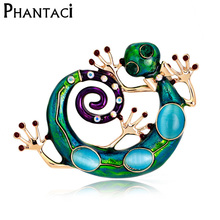 Large Blue Enamel Esmaltes Lizard Gecko Brooches Women Girls Corsages Green Brooch Diamante Embellishments Kihen Wedding Bijoux