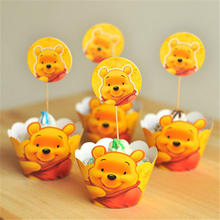 MEIDDING 24pcs Yellow Winnie the Pooh Cupcake Wrappers for Kid Birthday Baby Shower Party Decoration Cake Cup Topper Cake Decor