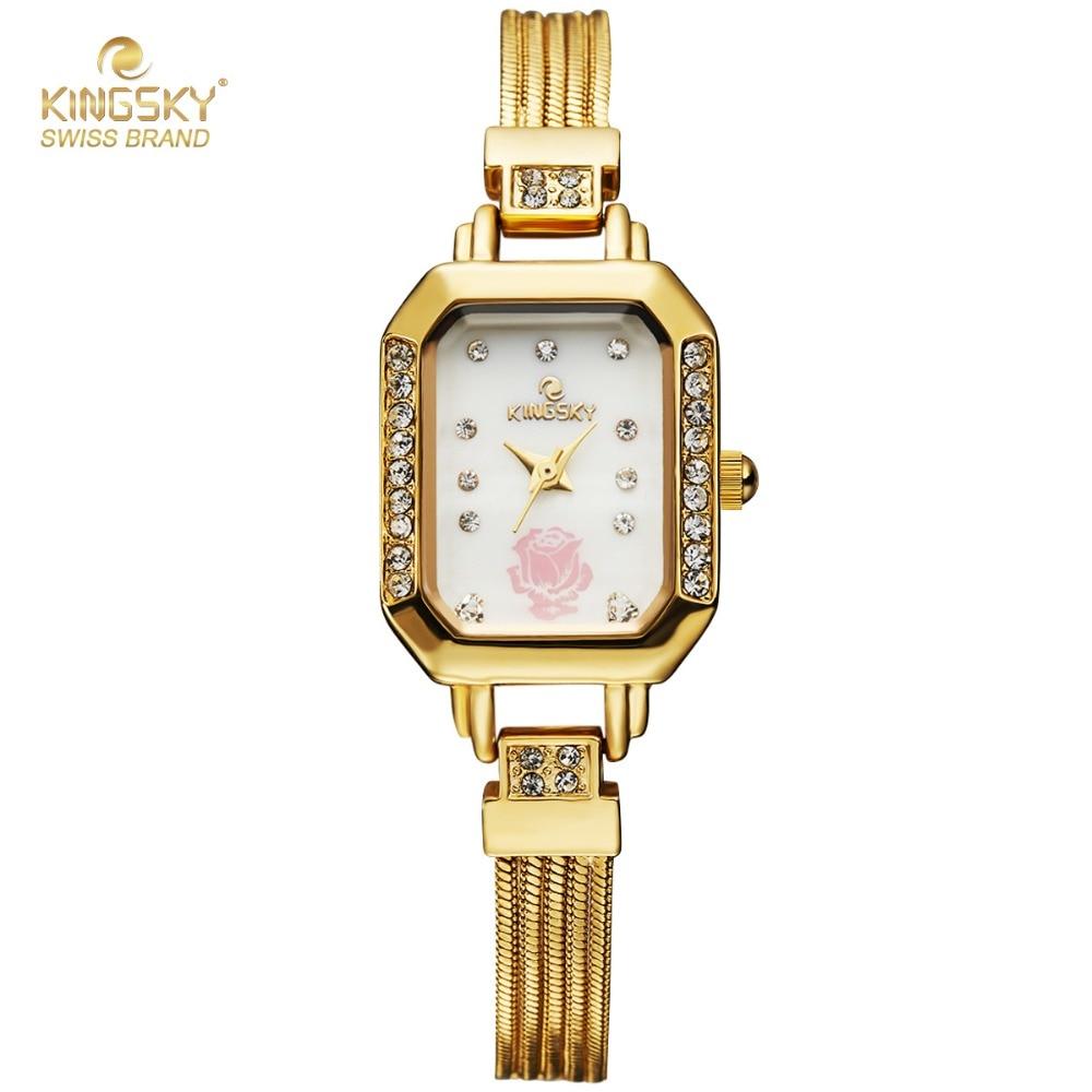 2017 New Fashion Women Watches Kingsky Top Luxury Brand Gold Quartz Bracelet Watches Women Fashion Ladies Rectangle Wristwatch<br><br>Aliexpress