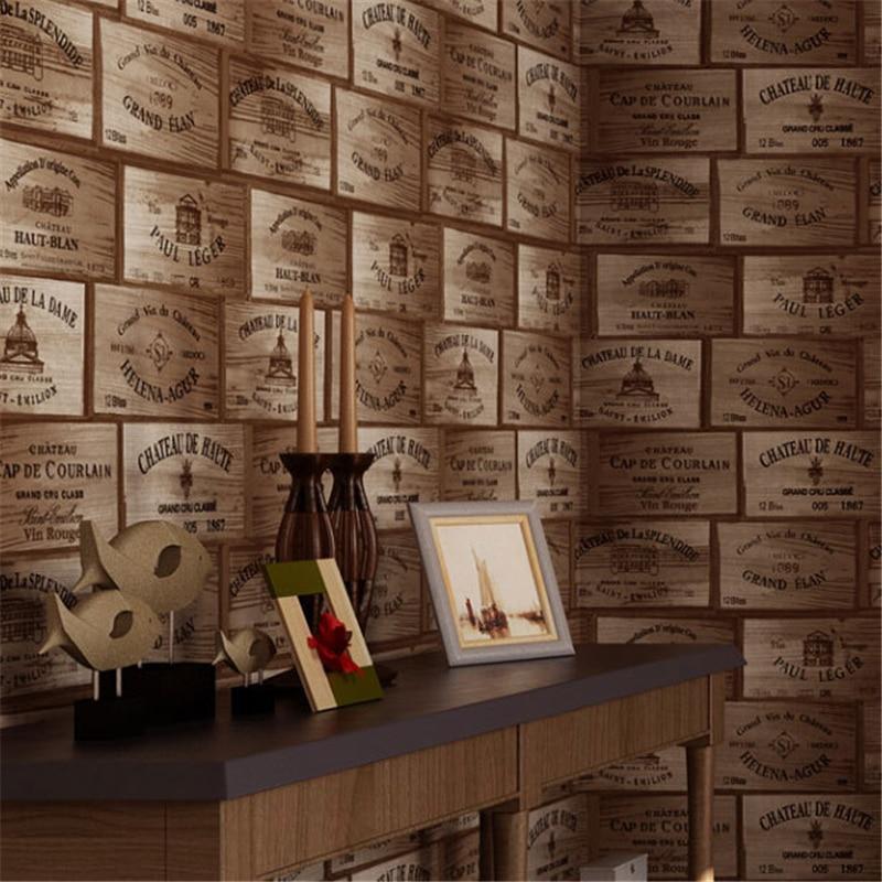 beibehang American rural imitation wood veneer wine label pattern retro wine Wallpaper restaurant bar background papel de parede<br>