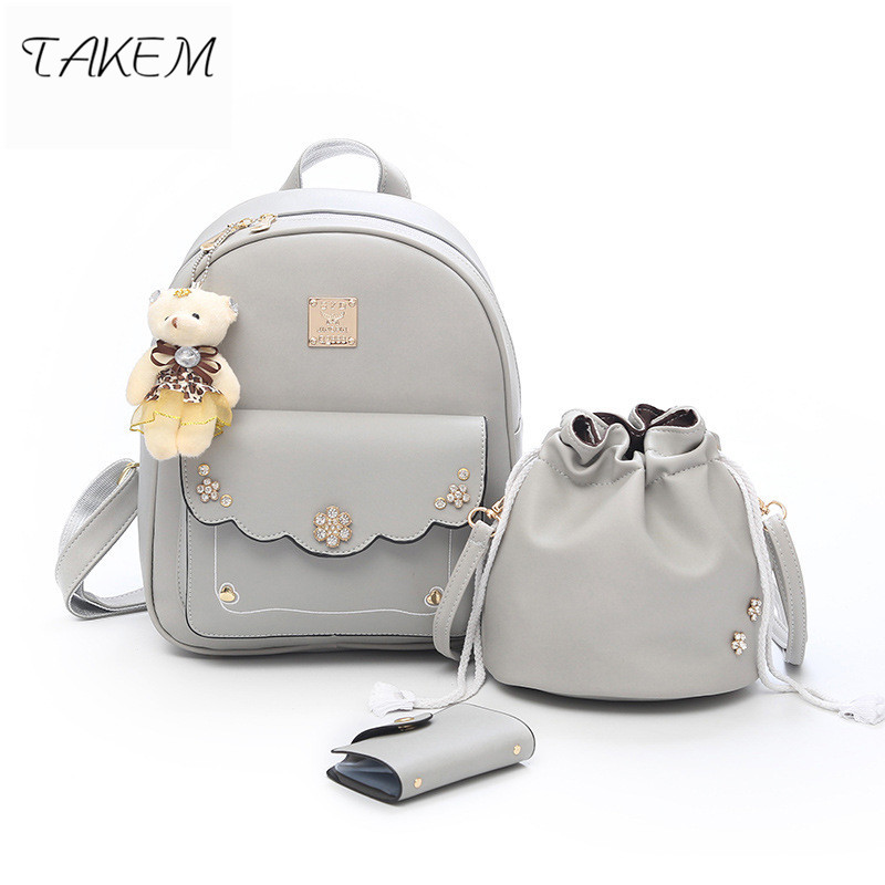 TAKEM 2018 3pcs Women Backpacks Set Rucksack Fashion Backpack For Teenagers Girls School bags Backpacks  PU fabric Bear<br>