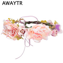 AWAYTR Bridal Flower Crown Headband Seaside Women Gilrs Pink Flower Wreath Hair Boho Style Photographed Holiday Wreath
