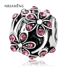 NBSAMENG Free Shipping plum flower Blossom with Crystal Bead Charm European Beads Fit Pandora Women Bracelet & Bangle DIY