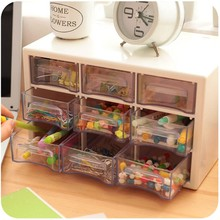 Plastic 9 Jewelry Storage Box Mini Debris Cabinets Lattice Portable Amall Drawer Sorting Grid Desktop Office Supplies
