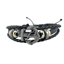 Men's Anchor Bracelet&Bangle Male Multilayer Accessories homme Jewelry Black Color Leather Bracelets valentine's day Gift(China)