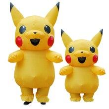 Christmas Mascot Pikachu Inflatable Costume Adult Kids Cosplay Spirit Christmas Dress Pikachu Halloween Costumes Women Men
