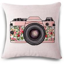 Manufacturers Wholesale Customized Camera Illustration Decorative Cotton Linen Throw Pillow Office Chair Back Cushion
