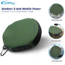 YFW Original Powerbank Portable Charging 10000mAh Waterproof Outdoor Travel Bateria Xiaomi/iPhone 6/7/6S/huawei Compass - Electronic Technology Co., Ltd store