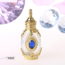 Gold Mosaic Retro 12ML Graven Brown Metal and Glass Empty Container Refillable Portable Gift Perfume Bottle Home Decoration(China)