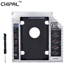 CHIPAL Aluminum SATA 3.0 2nd HDD Caddy 12.7mm 2.5 Inch Hard Disk Drive Enclosure SSD Case With LED for Laptop ODD Optical Bay