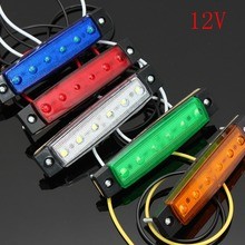 6 LED Clearance Side Marker Light Indicator Lamp Strip Car Truck Trailer Lorry 12V White Amber Yellow Red Purple(China)