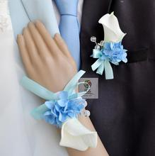 Handmade Wedding Corsages Groom Boutonniere Bride Bridesmaid Hand Wrist Flower Blue White Artificial PU Calla Lily Flowers New(China)