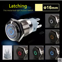 5V 12V 24V 110V 220V LED Locking Latching 16mm Waterproof Car Atuo Power Dash Metal Push Button Switch 1NO 1NC Stainless Steel