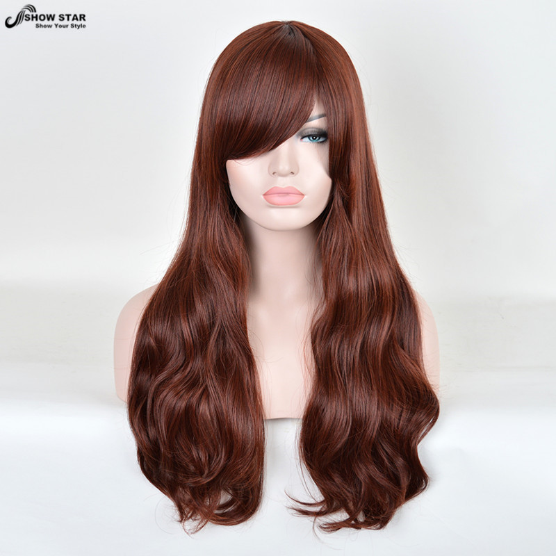 SHOWSTAR 26 Hot Sale Women Wig Long Curly Brown Wig with Bangs Perruque Synthetic Wig for Women Heat Resistant Wig Halloween<br><br>Aliexpress