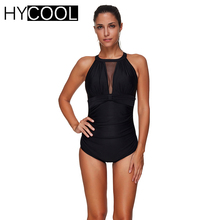S-3XL 2017 Sexy Black Lace One Piece Swimsuit Women Monokini Swimwear Female Mesh Bather Bathing Suit Swimming Suit For Women