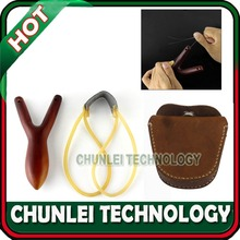 Geninue Leather Steel Ball Ammo Pouch Bag+Small Size Rosewood Wood Slingshot Outdoor Catapult