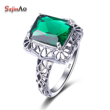 Szjinao Personality Ring 3.4ct Master Green Cubic Zirconia Solid 100% 925 Sterling Silver Jewelry Ring Manufacturer Bijoux