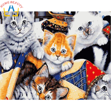40x50cm framed digital oil painting by numbers diy home decoration paint on canvas unique gift craft picture cat family E516