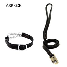 ARRKEO Adjustable 35~48 CM Leather Martingale Dog Collar Choke Collar with 120 CM Leather Dog Lead Leash for Small Medium Dog