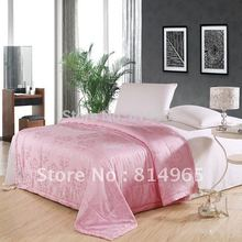 Pink Best-Quality-Free Shipping-100% Mulberry Silk Filled Winter Duvet Quilt Comforter Twin210X150cm Or Make Any Size ---500GSM(China)