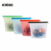 MOM'D HAND 4pcs/Set Reusable Silicone Food Storage Bag Silicone Fresh Bag Airtight Seal Food Preservation Container()