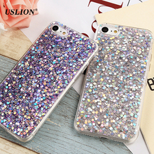 USLION Luxury Sequins Phone Case For iPhone 7 6 6s Plus Bling Flash Powder Soft TPU Cases Back Cover Capa Coque For iPhone7 Plus