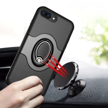 Brand New TPU + Plastic Hybrid Protective Case Car Magnet Suction Finger Ring Stand Back Cover For Apple iPhone 8 iPhone8 Plus(China)