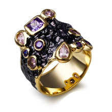 New Promotion Banquet Dinner Gift Black and Gold-color AAA Cubic Zirconia Rings Luxury Ring