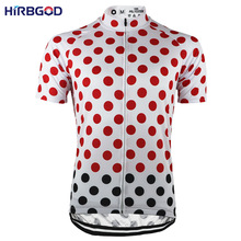 HIRBGOD Red Black Dots Men Cycling Jerseys Top Short Sleeve Summer Breathable MTB or Road Bike Clothes Shirt Ropa Ciclismo,NR213