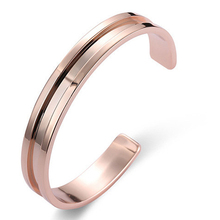 2017 New Titanium Stainless Steel Bangle Roman Numerals Gold/Silver/Rose Cuff Bracelets Men Women Open Bangle 369307(China)