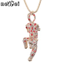 Bonsny Statement Metal Alloy Crystal Enamel Animal Leopard Panther  Choker Necklace Chain Pendant Fashion New Jewelry For Women