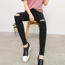 2017 Popular Hollow Out Slim Jeans Women Ripped-holes Pants High Waist Elastic Pencil Pants Street Grils Fashion Wearing Pant