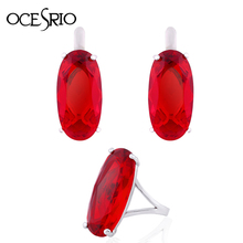 OCESRIO Red Garnet Jewelry Sets for Women Party Big Red Garnet Stone Ring Stud Earrings with Stones Vintage Jewelry Set rig-e66