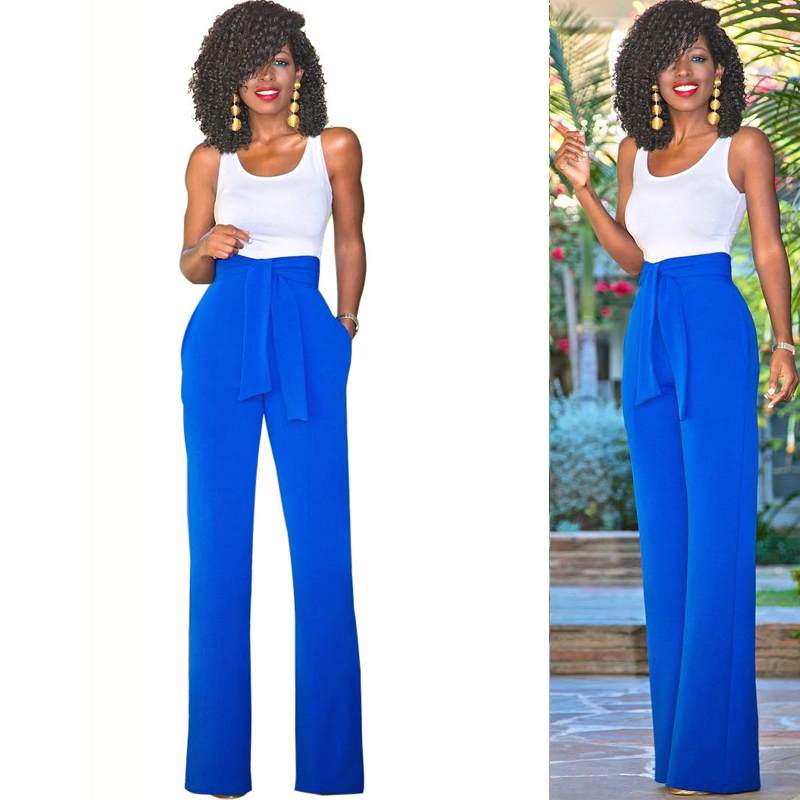 New Fashion 2 Piece Set Woman Bodysuit Sexy Sleeveless Blue Pants Suits Set For Women Crop Top And Pants Double Breasted Pockets