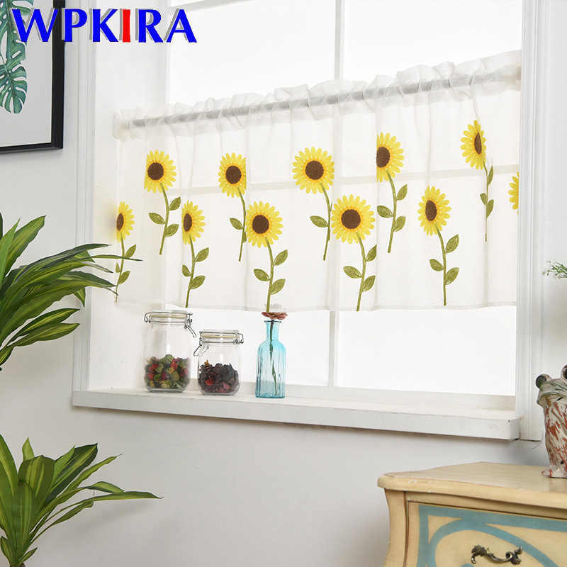 Bay Window Sunflower Embroidery Half Curtain Home Decoration Door Simple Romantic Curtain Window Partition kitchen Drape DL186#3