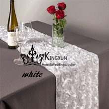 Satin Rosette Table Runner Tabble Cloth Runners Good Looking - White Color(China)