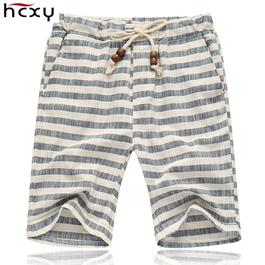 2017 Summer style Elastic Waist shorts men Loose Casual cotton Mens shorts Flax shorts male knee length beach linen shorts