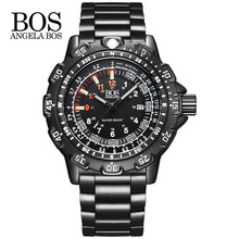 ANGELA BOS Men Multifunction Rotary Dial Compass    Watch Army Alloy Silicone Luxury Men Watch Super Luminous Clock