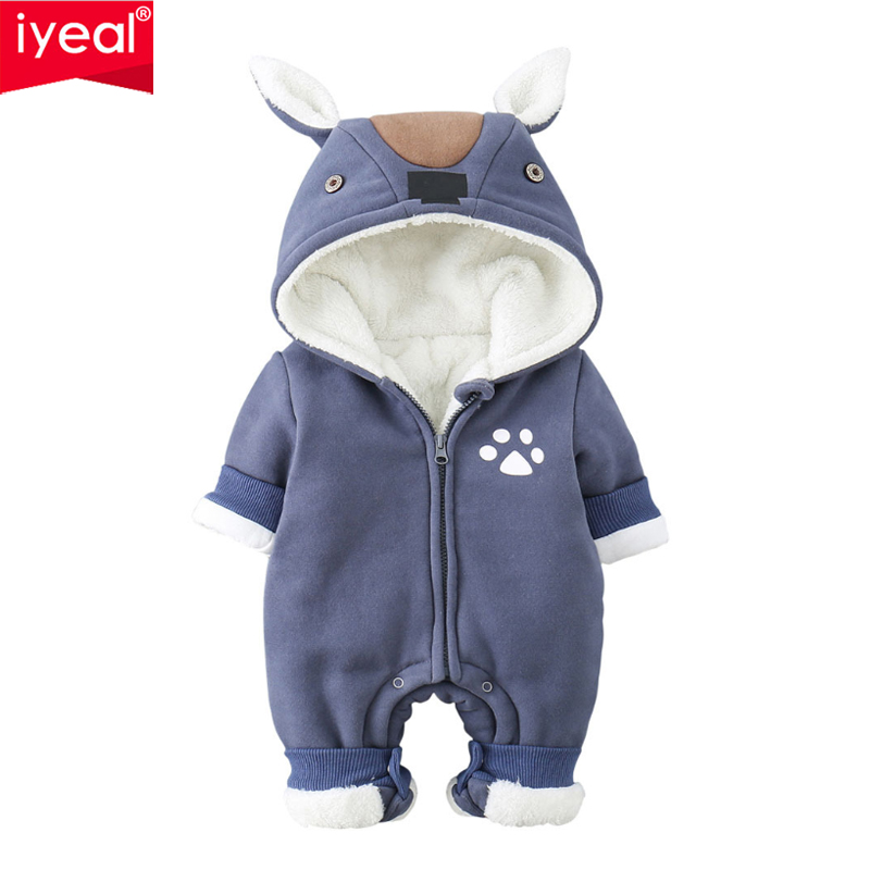 IYEAL Newborn Baby Boy Rompers Winter Baby Girl Clothes Thicken Cartoon Animal Snowsuit Warm Fleece Hoodie Infant Jumpsuit 0-24M