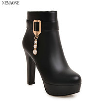 Buy NEMAONE Fashion Women Boots High Heels Ankle Boots Platform Shoes Brand Women Shoes Autumn Winter Botas Mujer for $29.14 in AliExpress store