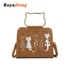 RoyaDong Brand 2018 New Cat Embroidery Women Handbags Fashion Small Shoulder Bags Female Crossbody Bag Lady Bag Pu Leather(China)
