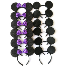 12pcs Hair Accessories Mickey Minnie Mouse Ears Headbands Black & Purple Sequins Bow Boy and Girl Headwear for Birthday Party