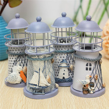Hot Sale Newest Mediterranean Style Lighthouse Wrought Iron Candlestick Candle Holder Home Decoration Pattern Randomly