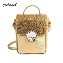 2017 Cute Gold Sequin Women Bag Luxury Designer Famous Brand High Quality Shoulder Crossbody Bag For Girl  Name Brand Kabelky