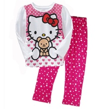 Hello Kitty Girls Pajamas Suits 2 3 4 5 6 7 years Polka Dot Fashion Cotton Children Clothes Suit Long Sleeve Star T-Shirts Pants