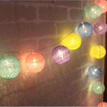 Macaron Color Series 5cm Round Ball Led string light PVC Cotton Ball Light string 10led/20led/30led Holiday Decorative Lights(China)